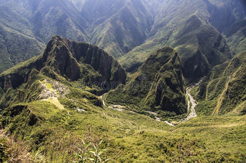 马丘比丘和Urubamba河,秘鲁 免版税库存图片