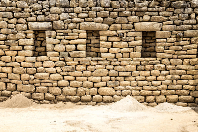 马丘比丘岩石墙壁,库斯科,秘鲁,南美 免版税库存照片