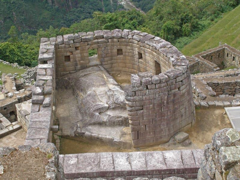马丘比丘废墟,太阳的寺庙 免版税库存图片