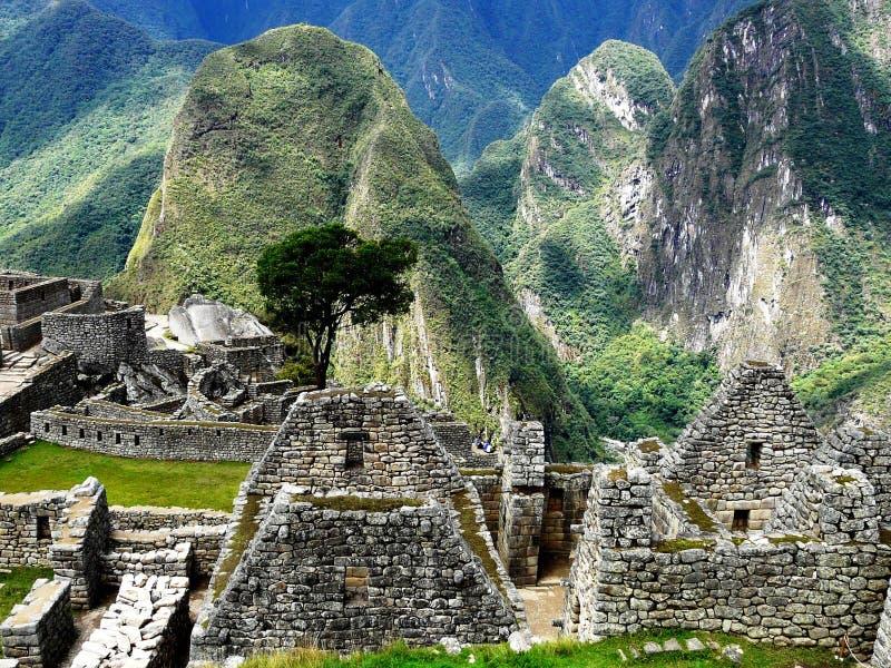 马丘比丘,秘鲁古老印加人的废墟的美丽如画的看法  图库摄影