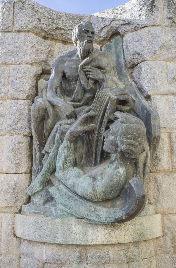 马修福音传教士scultpture 图库摄影