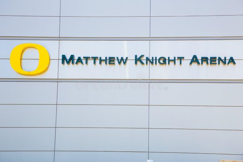 马修骑士俄勒冈大学的篮球竞技场 库存图片