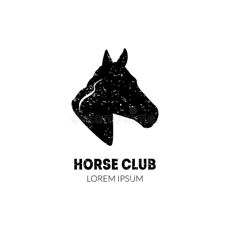 马俱乐部与马头外形的商标模板,马术运动俱乐部,马学校骑马课证章传染媒介 库存例证
