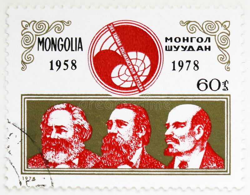 马克思、恩格斯和列宁,第20周年\'\'和平和社会主义的问题\'\'学报serie,大约1978年 免版税库存图片