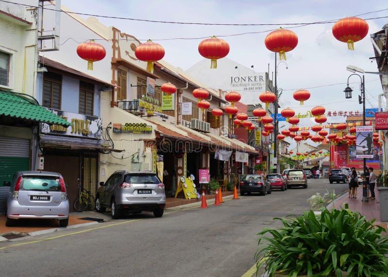 马六甲,马来西亚--2018年2月:永克尔街装饰以红色灯笼庆祝农历新年 永克尔步行是 库存图片