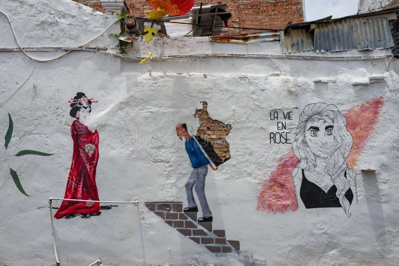 马六甲,马来西亚- 2019年3月01日:墙壁艺术在马六甲的老  免版税图库摄影