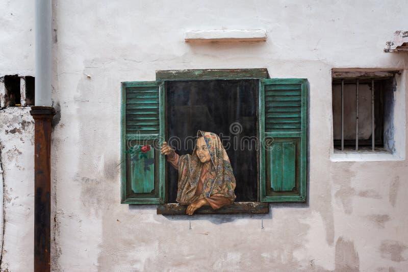 马六甲,马来西亚- 2019年3月01日:墙壁艺术在马六甲的老  库存照片