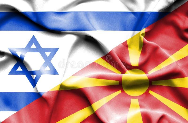 马其顿和以色列的挥动的旗子 向量例证
