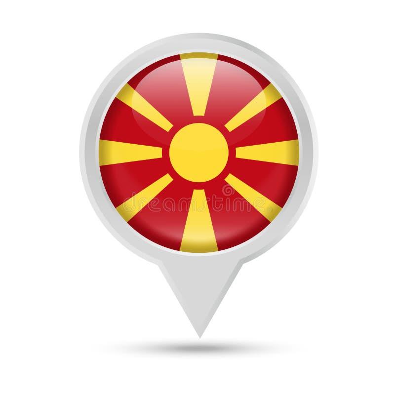 马其顿旗子圆的Pin传染媒介象 向量例证