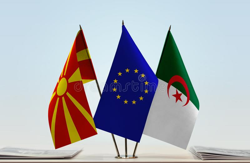 马其顿欧盟和阿尔及利亚的旗子 向量例证