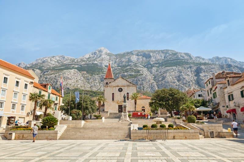 马卡尔斯卡,克罗地亚镇的中心  免版税库存照片