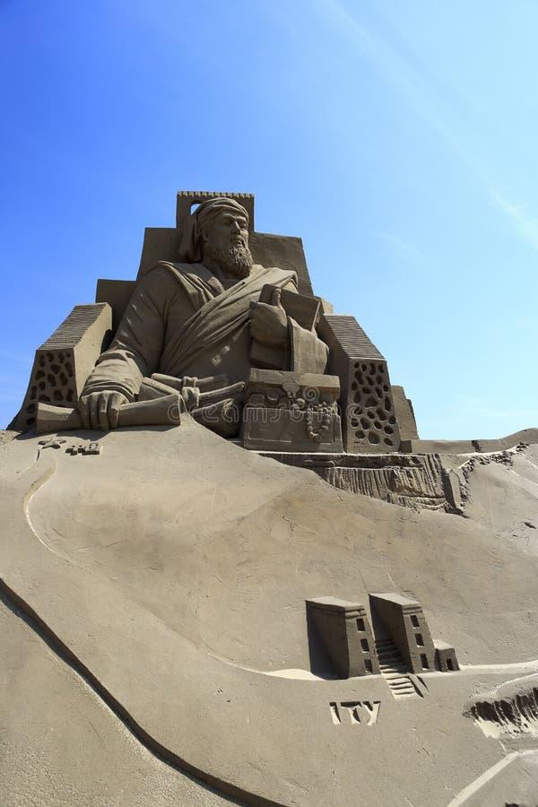 马可波罗沙子雕塑  库存照片