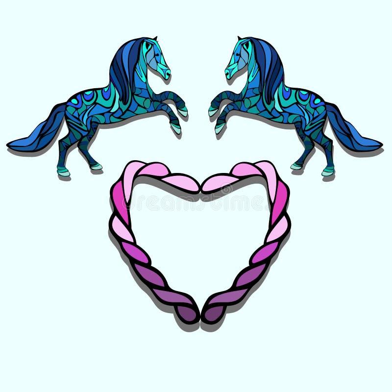 马和心脏 免版税图库摄影