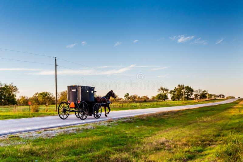 马和支架在高速公路在俄克拉何马 免版税图库摄影