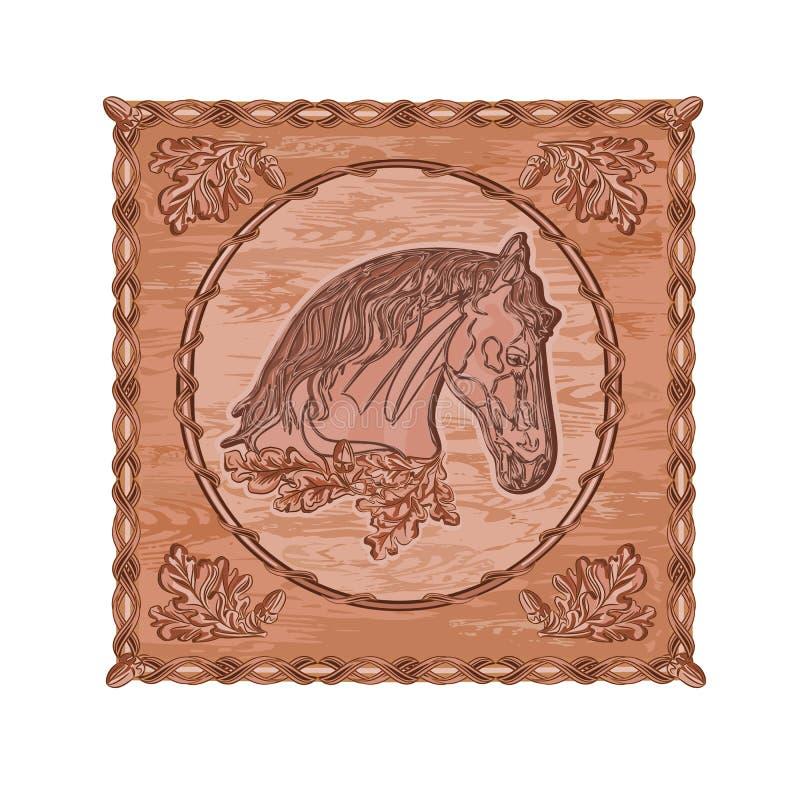 马和橡木木雕狩猎题材葡萄酒传染媒介 皇族释放例证