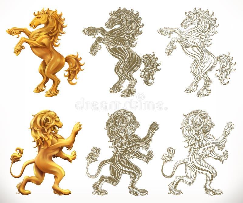 马和狮子 3d和板刻样式 也corel凹道例证向量 皇族释放例证