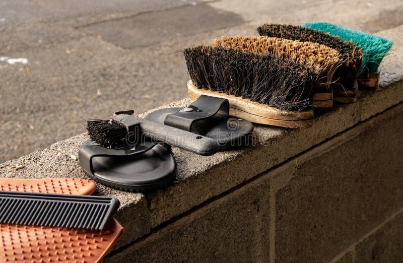 马在丘吉尔Downs的修饰设备 库存图片