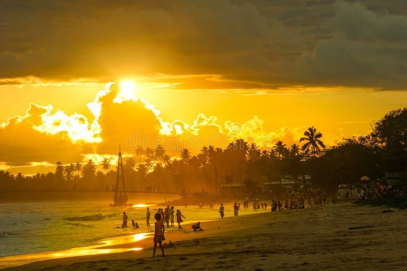 马塔勒海滩在斯里兰卡 库存图片