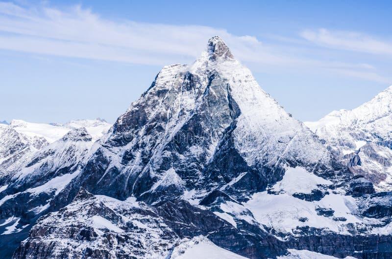 马塔角峰顶在瑞士阿尔卑斯 库存图片