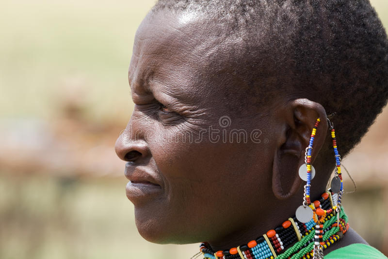 马塞人妇女画象 免版税图库摄影