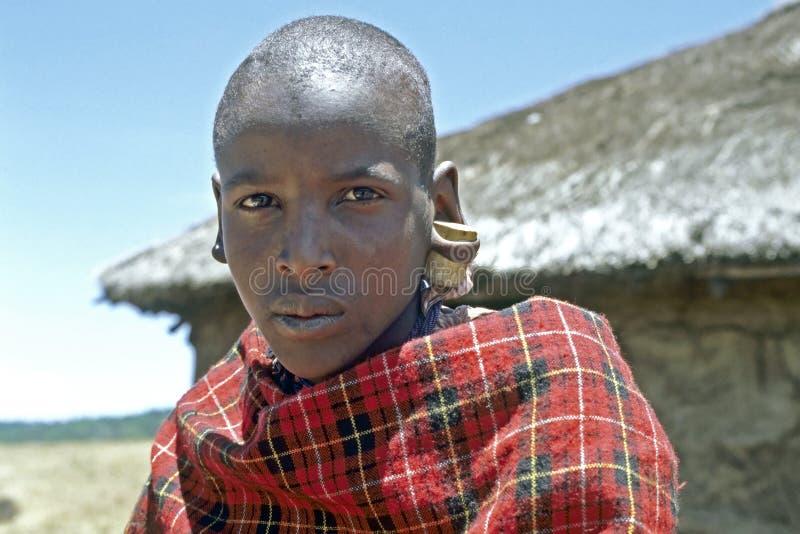 马塞人男孩画象有黄柏的在他的耳朵,肯尼亚 免版税图库摄影