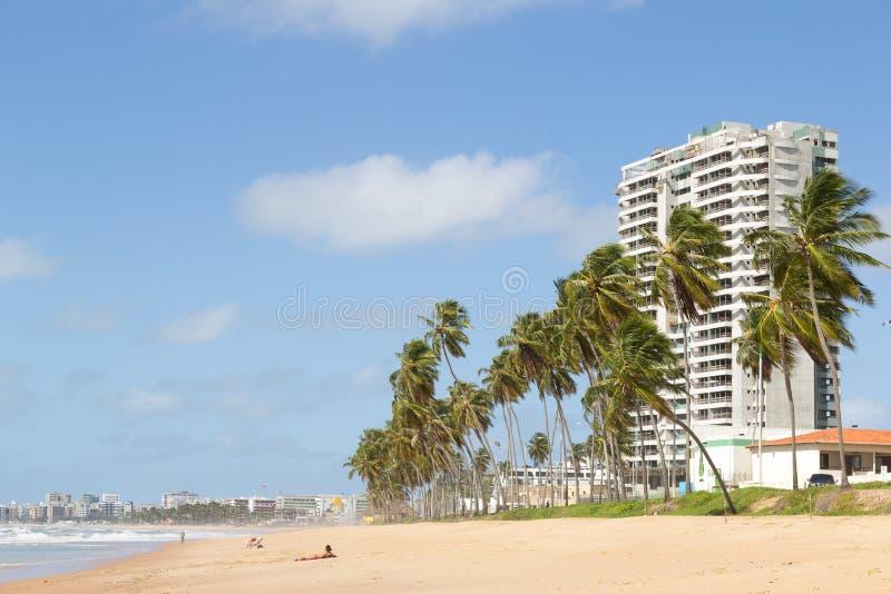 马塞约,巴西- 2017年9月, 05 与l的Cruz das Almas海滩 免版税库存照片