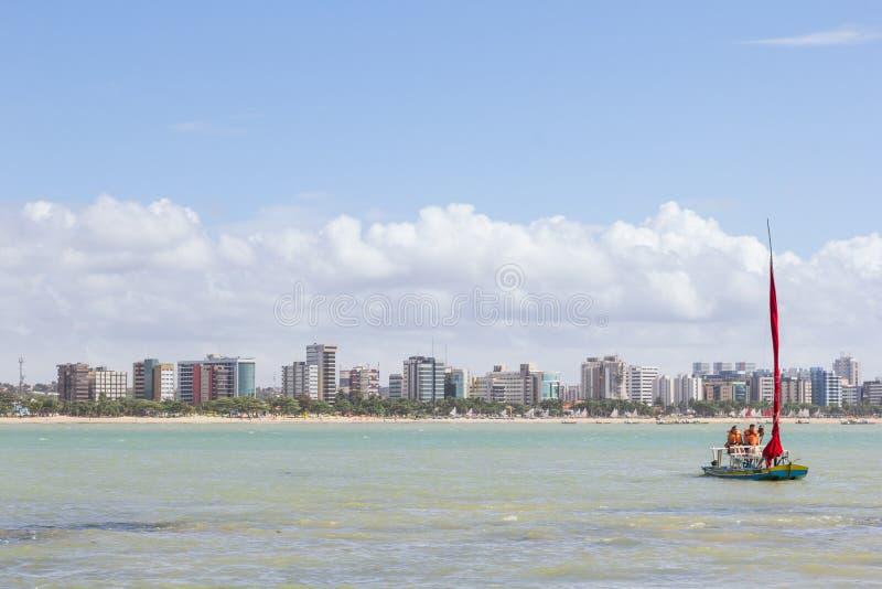 马塞约,巴西- 2017年9月, 04 Pajucara海滩,游人ta 免版税图库摄影