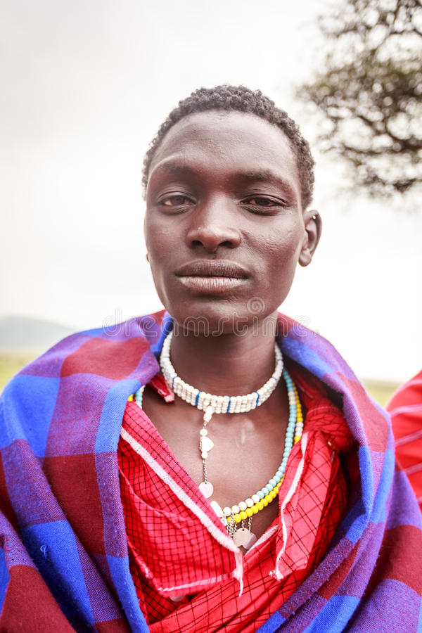 年轻马塞语画象  库存照片