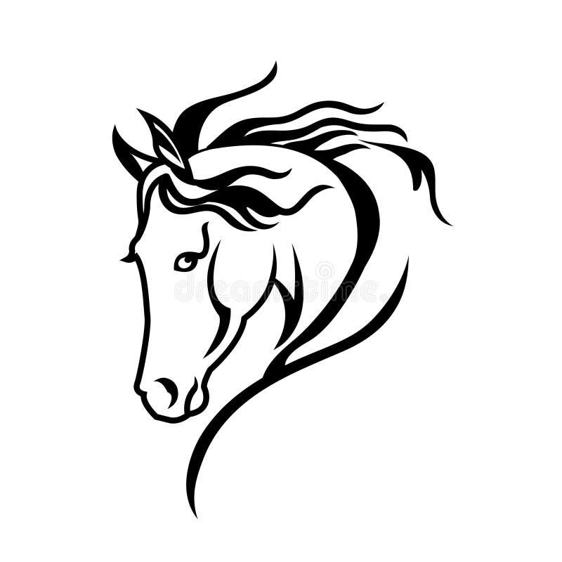 马头的剪影图画 库存例证