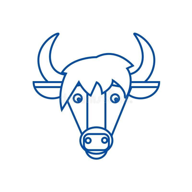 马头线象概念 马头平的传染媒介标志,标志,概述例证 库存例证