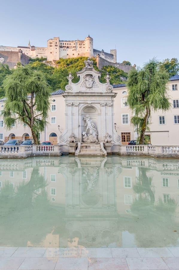 马好的Fountainin萨尔茨堡,奥地利 免版税库存图片