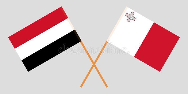 马尔他和也门旗子 向量例证