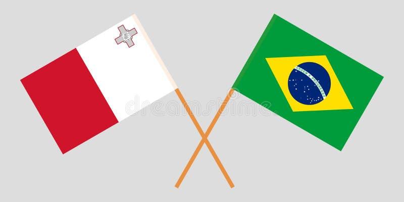 马尔他和巴西旗子 向量例证