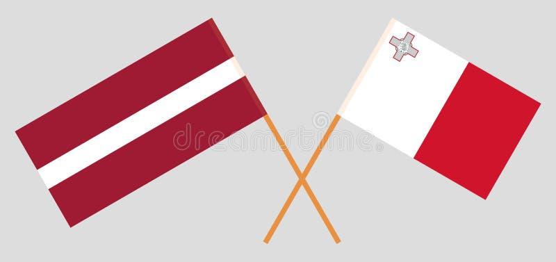 马尔他和拉脱维亚旗子 库存例证