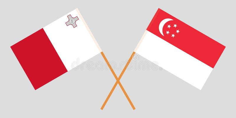 马尔他和新加坡旗子 向量例证