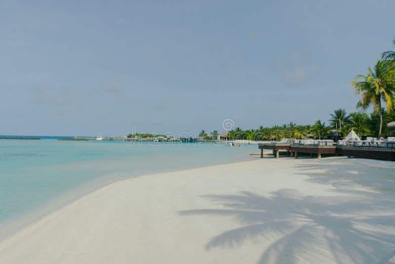 马尔代夫、美丽的绿松石水域和白色沙滩的令人惊讶的海岛有天空蔚蓝背景为假日假期 免版税库存图片