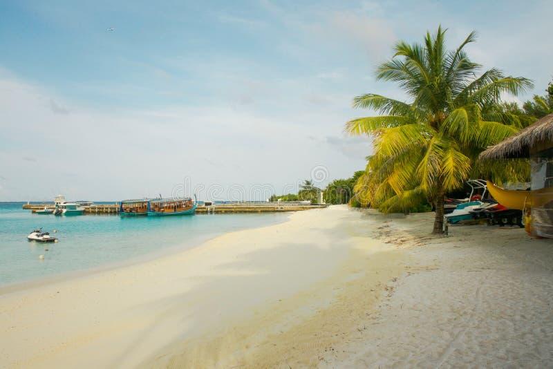 马尔代夫、美丽的绿松石水域和白色沙滩的令人惊讶的海岛有天空蔚蓝背景为假日 图库摄影