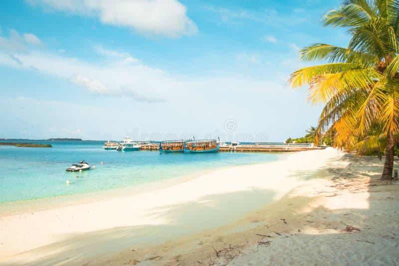 马尔代夫、美丽的绿松石水域和白色沙滩的令人惊讶的海岛有天空蔚蓝背景为假日 免版税图库摄影