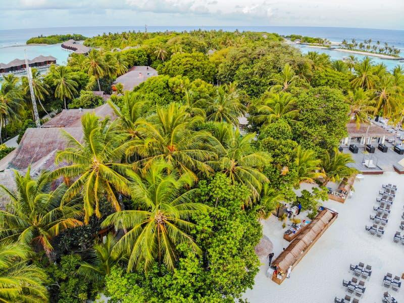 马尔代夫、美丽的绿松石水域和白色沙滩的令人惊讶的海岛有天空蔚蓝背景为假日 库存照片