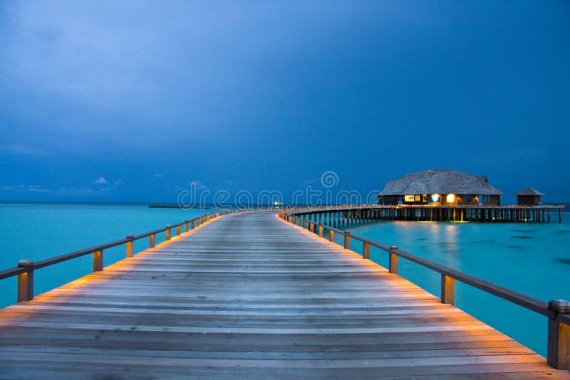 马尔代夫晚上 免版税图库摄影