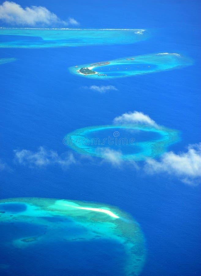 马尔代夫环礁 免版税库存照片