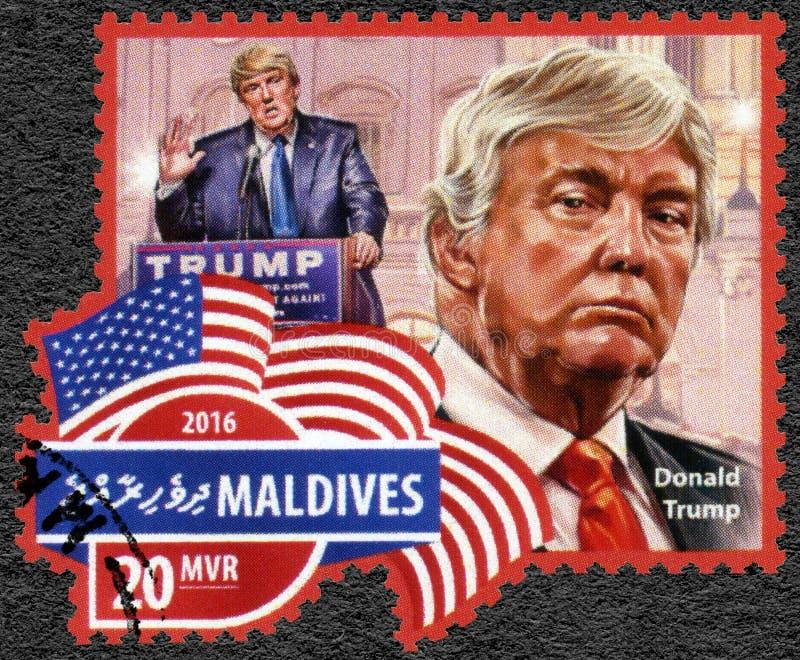 马尔代夫- 2016年:展示唐纳德约翰王牌出生的美国的1946个美国人商人、政客和总统当选人 免版税图库摄影