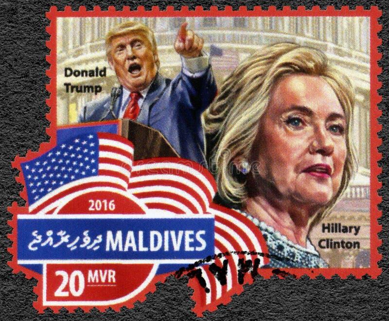 马尔代夫- 2016年:美国的展示唐纳德约翰王牌出生的1946年总统当选人和希拉里・克林顿出生1947年 免版税库存照片