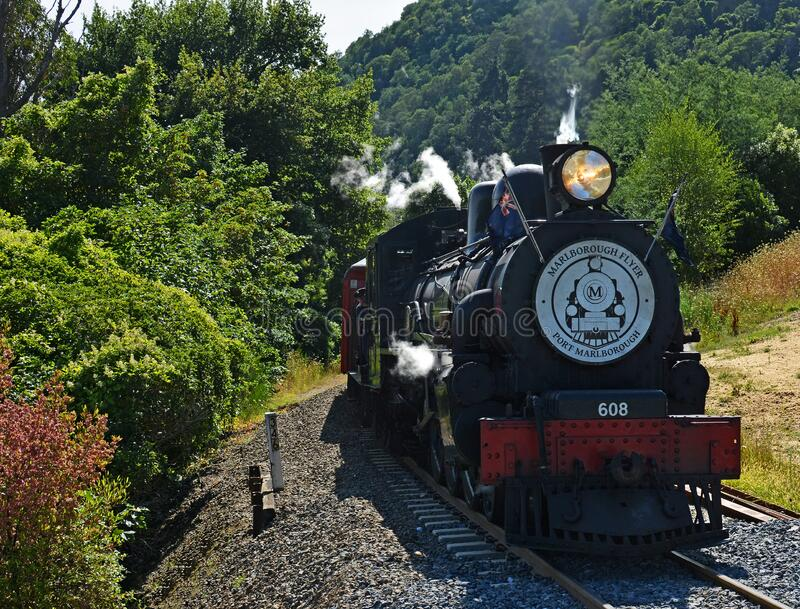 马尔伯勒·弗莱尔蒸汽火车从皮克顿向陡峭的山 库存照片
