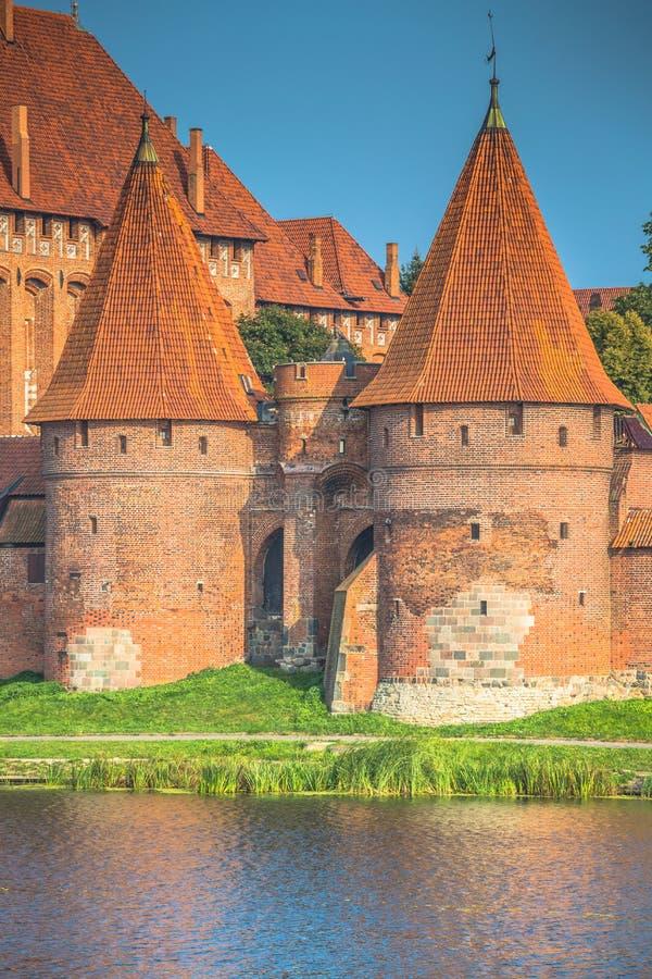 马尔堡城堡在条顿人建造的波兰中世纪堡垒 图库摄影