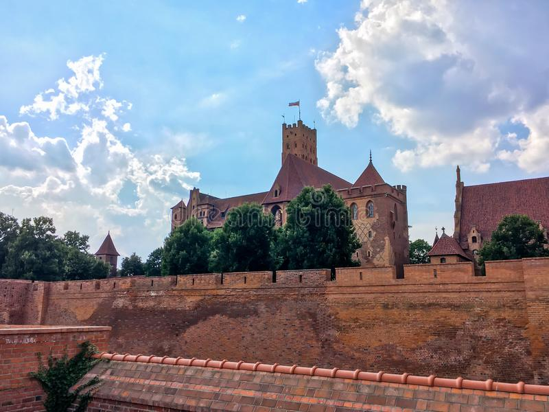 马尔堡城堡在波兰, Teutoni建造的中世纪堡垒 免版税库存图片