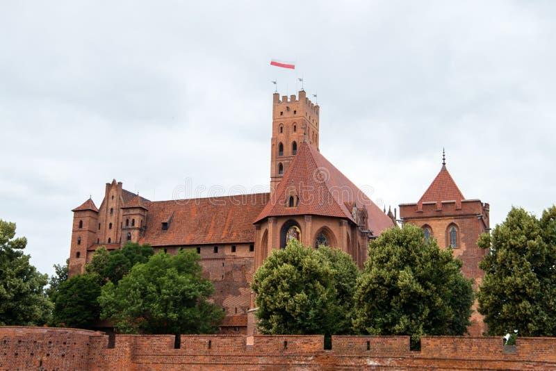 马尔堡,中世纪条顿人城堡废墟在波兰 图库摄影