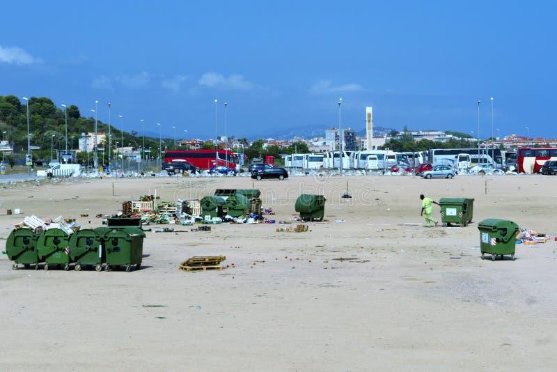马尔格拉特德马尔,加泰罗尼亚,西班牙,2018年8月 度假胜地,净化剂的反面在工作 库存照片