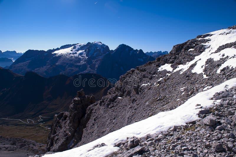马尔莫拉达山白云岩的高山 库存图片