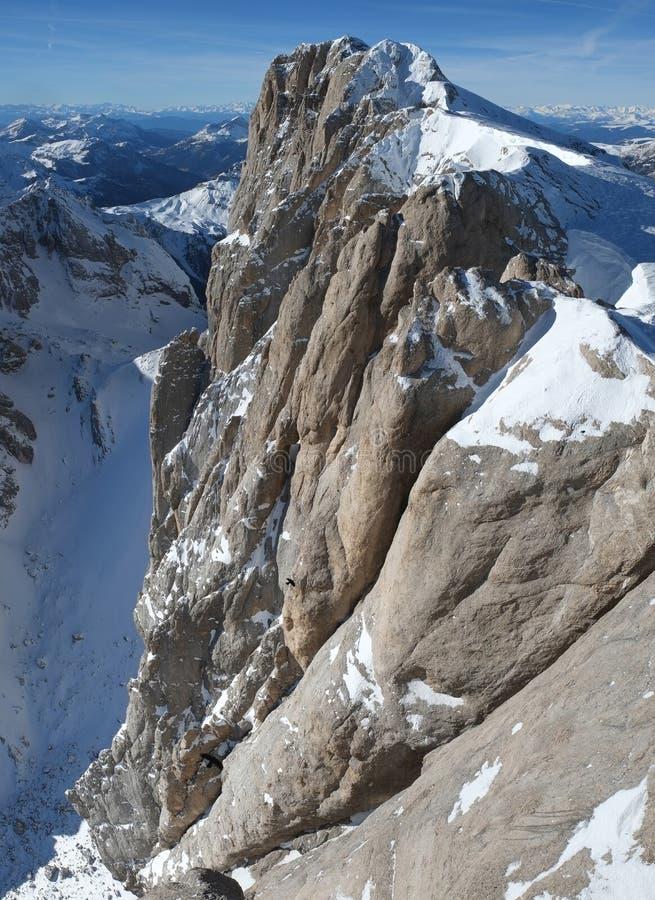 马尔莫拉达山,白云岩的高山,意大利 免版税库存照片